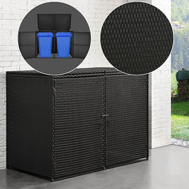 Juskys Mülltonnenbox Mol Aufbewahrungsbox für zwei Tonnen 1,2m² abschließbare Türen Poly-Rattan - Bild 1