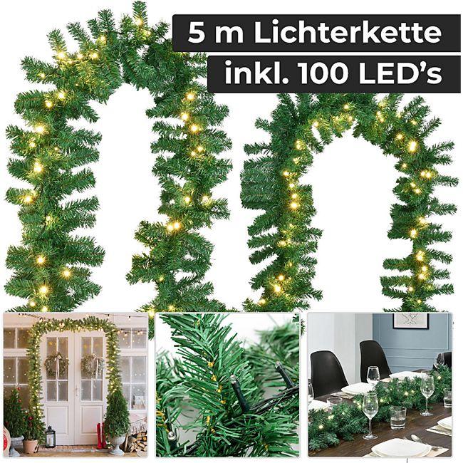 Juskys Weihnachtsgirlande künstlich mit LED Lichterkette | 5 m | 100 Lichter warmweiß | IP44 Innen | - Bild 1