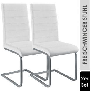 ArtLife Freischwinger Stuhl Vegas 2er Set | Kunstleder Bezug + Metall Gestell | weiß - Bild 1