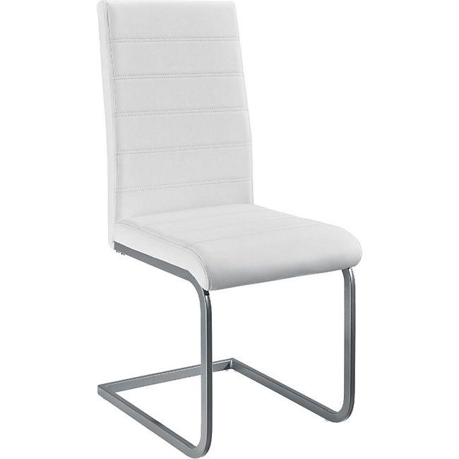 ArtLife Freischwinger Stuhl Vegas 2er Set | Kunstleder Bezug + Metall Gestell | weiß
