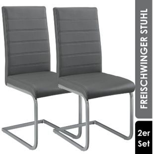 ArtLife Freischwinger Stuhl Vegas 2er Set | Kunstleder Bezug + Metall Gestell | grau - Bild 1