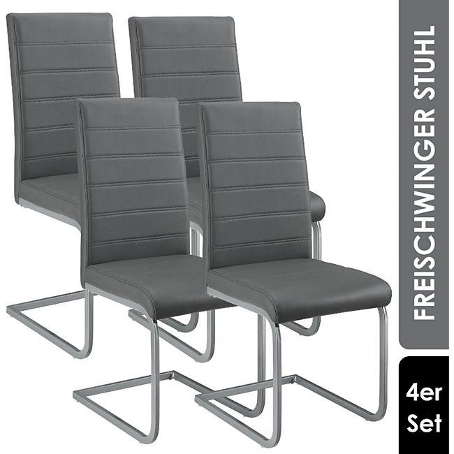 ArtLife Freischwinger Stuhl Vegas 4er Set | Kunstleder Bezug + Metall Gestell | grau - Bild 1