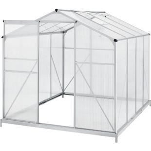 Juskys Aluminium Gewächshaus mit Fundament für Garten | 4,75 qm | 190 × 253 cm - Bild 1