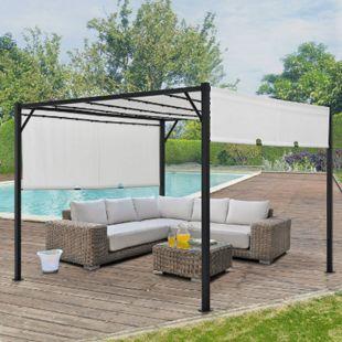 Juskys Pavillon Cavo 3 × 3 m creme – Pergola mit LED Beleuchtung & Flachdach - Sonnenschutz - Bild 1