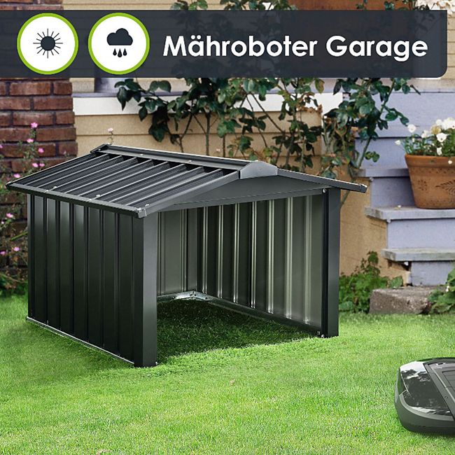 Mähroboter Garage mit Satteldach   Rasenmäher Dach Carport aus Metall   86 × 98 × 63 cm - Bild 1