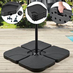 Juskys Schirmgewicht 4er-Set Quad für Schirmständer mit 60 Liter Wasser oder 80 kg Sand befüllbar - Bild 1