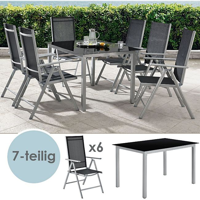 ArtLife Aluminium Gartengarnitur Milano Gartenmöbel Set mit Tisch und 6 Stühlen silber-grau - Bild 1