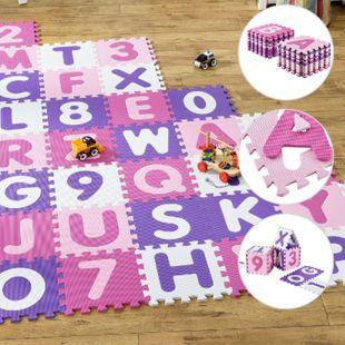 Kinder Puzzlematte Juna 36 Teile mit Buchstaben & Zahlen - rutschfest – rosa für Mädchen | Juskys - Bild 1