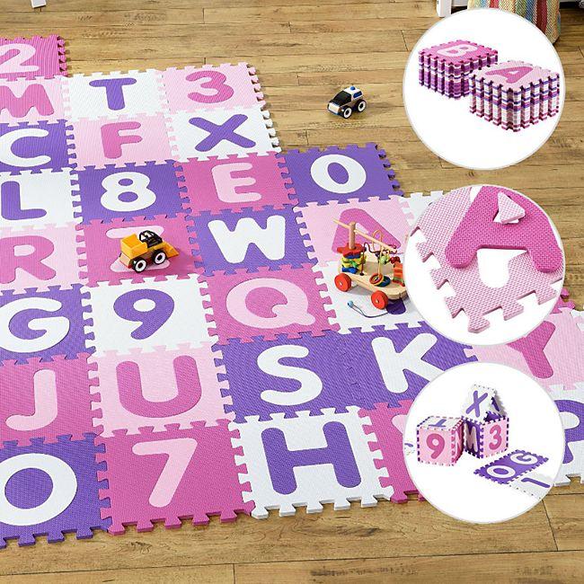 Juskys Kinder Puzzlematte Juna 36 Teile mit Buchstaben & Zahlen | rutschfest & abwischbar | Mädchen - Bild 1