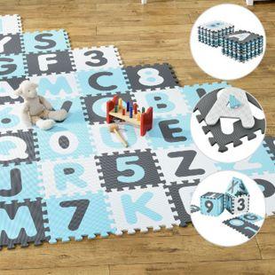 Kinder Puzzlematte Juna 36 Teile mit Buchstaben & Zahlen - rutschfest – blau für Jungen | Juskys - Bild 1