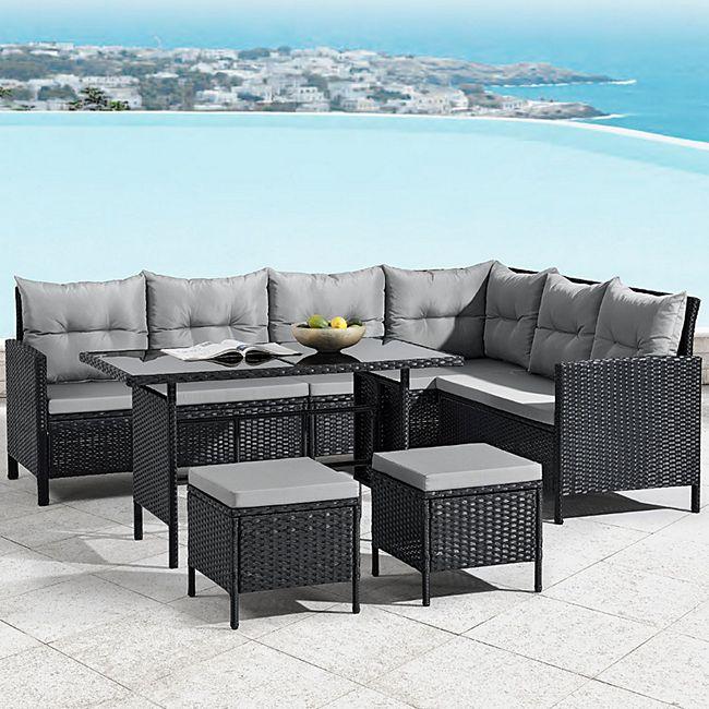 ArtLife Polyrattan Lounge Manacor | Gartenmöbel Set mit Sofa, Tisch & 2 Hockern | schwarz - Bild 1