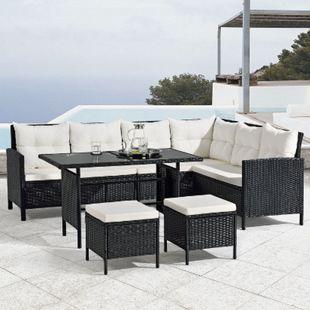 Polyrattan Lounge Manacor | Gartenmöbel Ecklounge mit Tisch und 2 Hockern | schwarz | Juskys - Bild 1