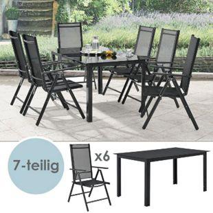 Aluminium Gartengarnitur Milano Gartenmöbel Set mit Tisch und 6 Stühlen dunkel-grau | Juskys - Bild 1