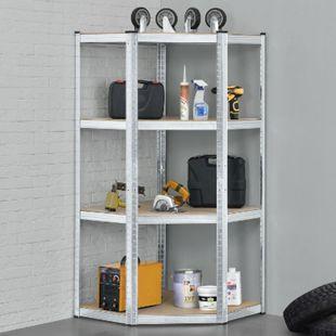 Eckregal Corner Easy | verzinktes Metall | 4 Böden aus MDF Holz  320 kg | Schwerlastregal Steckregal - Bild 1