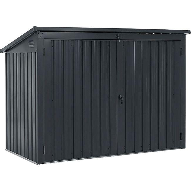 Juskys Mülltonnenbox Namur 1,9m² Aufbewahrungsbox in grau für 3 Tonnen zwei abschließbare Türen - Bild 1