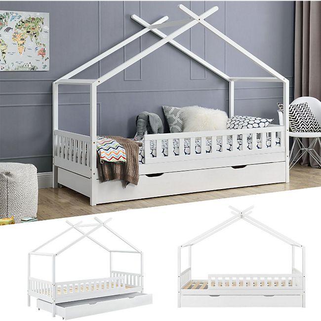 Juskys Kinderbett Tipi mit Bettkasten und Lattenrost | 90 x 200 cm | weiß | Dach-Gestell für Himmel - Bild 1
