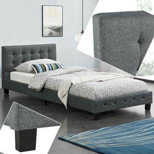 ArtLife Polsterbett Manresa 90 x 200 cm - Bett mit Lattenrost und Kopfteil - Grau - Bild 1
