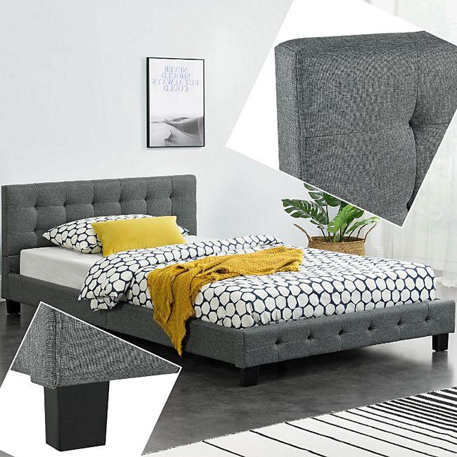 ArtLife Polsterbett Manresa 120 x 200 cm - Bett mit Lattenrost und Kopfteil - grau - Bild 1