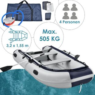 ArtSport Schlauchboot grau - Aluboden - aufblasbar - 4 Personen- 3,20 Meter - 2 Sitzbänke - Bild 1
