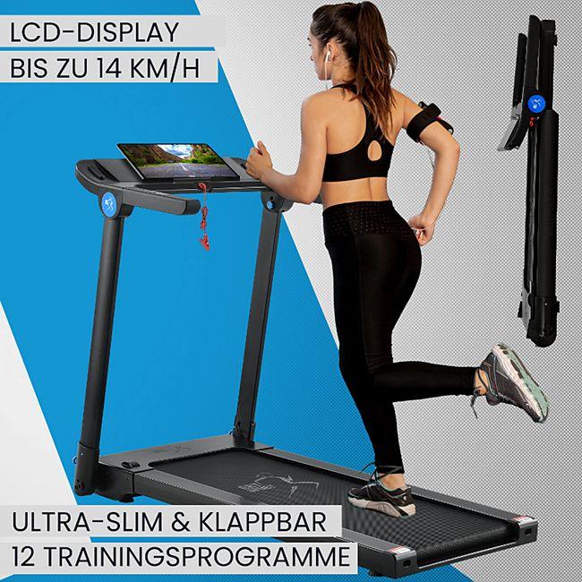 ArtSport Ultra Slim Laufband SR1418 klappbar - große Lauffläche 120x44 cm - 14 km / h - 12 Programme - Bild 1
