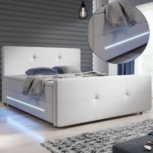 ArtLife Boxspringbett Oakland 180x200 cm mit 2 Federkern-Matratzen, Topper, LED-Beleuchtung – 58 cm - Bild 1