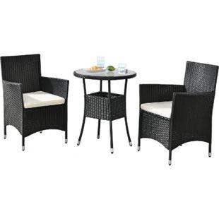 Polyrattan Balkon Set Bayamo 2 Personen – Tisch mit Glasplatte & 2 Stühlen – Wetterfeste Balkonmöbel - Bild 1
