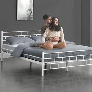 Metallbett Malta 140 x 200 cm weiß – Bettgestell mit Lattenrost – modern & massiv – Bett - Bild 1