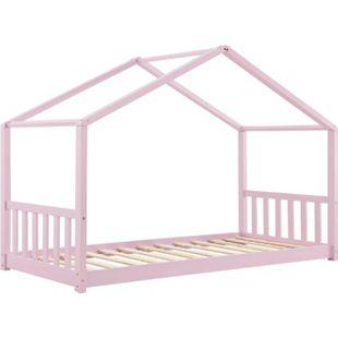 Kinderbett Paulina 90 x 200 cm mit Lattenrost und Dach   rose   Hausbett aus Massivholz   ArtLife - Bild 1
