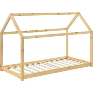 Kinderbett Carlotta 90 x 200 cm Lattenrost & Dach | natur | Hausbett | Holz | Kiefer | ArtLife - Bild 1