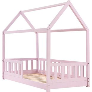 Kinderbett Marli 80 x 160 cm Rausfallschutz, Lattenrost & Dach   rose   Hausbett   Holz   ArtLife - Bild 1