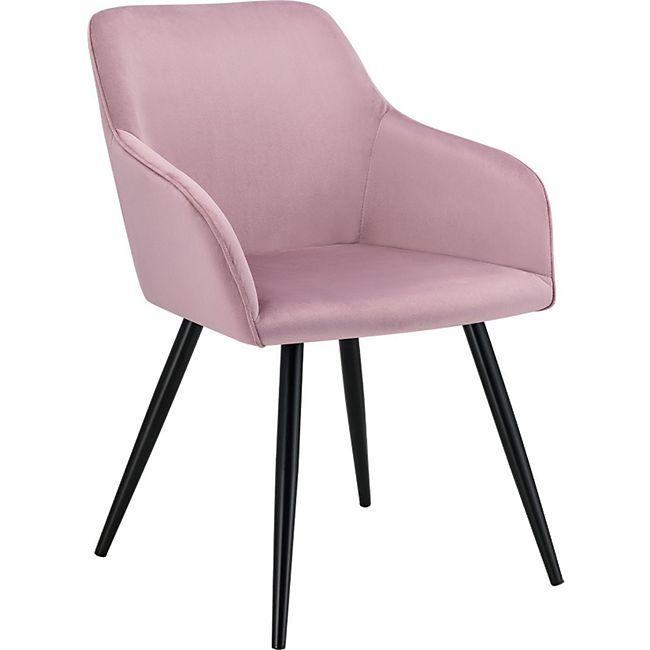 Esszimmerstuhl Tarje mit Samt in rosa – Bequemer Polsterstuhl mit Armlehne – Küchenstuhl Metallbeine - Bild 1
