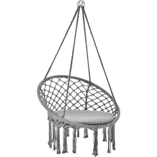Hängesessel Cadras grau - 60 cm breites Kissen – Indoor Hängekorb 120 kg Belastbarkeit | Juskys - Bild 1