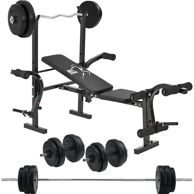ArtSport Multifunktion Hantelbank Set ProfiGym 1000 & 3in1 Hantelset mit 60 kg Gewichten - Bild 1