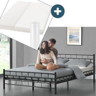Metallbett Malta 140 x 200 cm schwarz – Komplett Set mit Matratze - Bett mit Lattenrost - modern - Bild 1