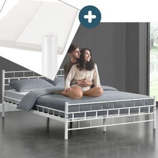 Metallbett Malta 140 x 200 cm weiß – Komplett Set mit Matratze - Bett mit Lattenrost - modern - Bild 1