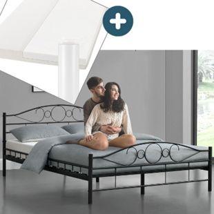 Metallbett Toskana 140 x 200 cm schwarz – Komplett Set mit Matratze - Bett mit Lattenrost - modern - Bild 1