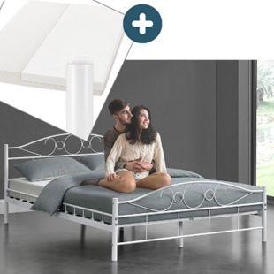 Metallbett Toskana 140 x 200 cm weiß – Komplett Set mit Matratze - Bett mit Lattenrost - modern - Bild 1