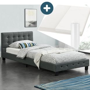 Polsterbett Manresa 90 x 200 cm – Bett mit Lattenrost, Matratze und Kopfteil – Komplett-Set - Bild 1