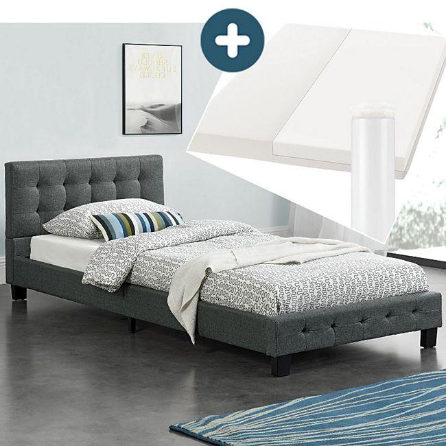 Polsterbett Manresa 90 X 200 Cm Bett Mit Lattenrost Matratze Und Kopfteil Komplett Set Online Kaufen Bei Netto