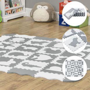 Kinder Puzzlematte Timon 36 Teile mit 16 Tieren - rutschfest – grau weiß | Juskys - Bild 1