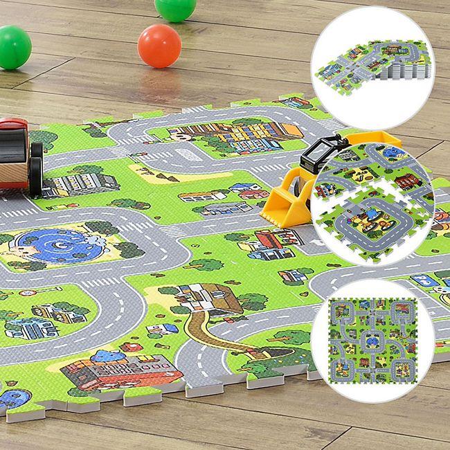 Kinder Puzzlematte Jascha 9 Teile - Stadt & Straßen – rutschfest – Spielmatte ab 10 Monate | Juskys - Bild 1
