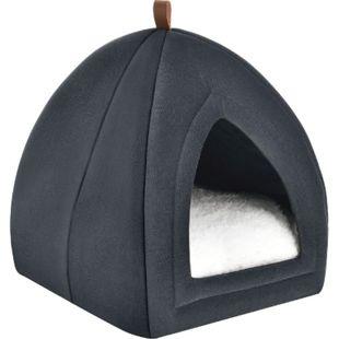 Katzenhöhle Gismo 36x36x38 cm – Kissen herausnehmbar – Katzenhaus für Katzen – dunkelgrau | Juskys - Bild 1