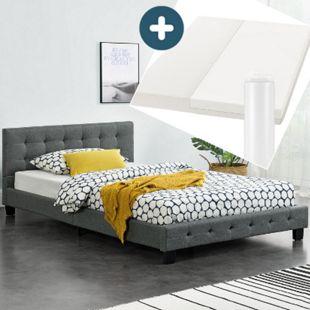 Polsterbett Manresa 120x200 cm - Bettgestell mit Matratze, Lattenrost & Kopfteil – grau   Artlife - Bild 1