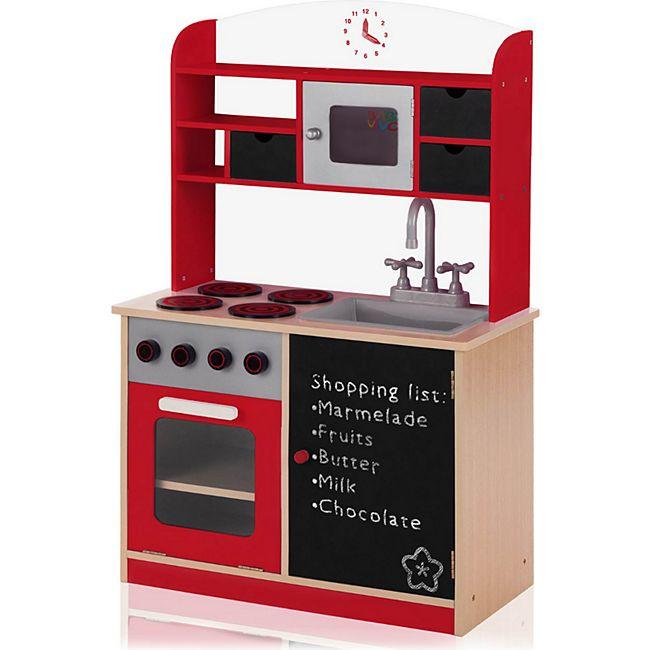 Baby Vivo Kinderküche Spielküche aus Holz mit Tafel - Mila in Rot - Bild 1