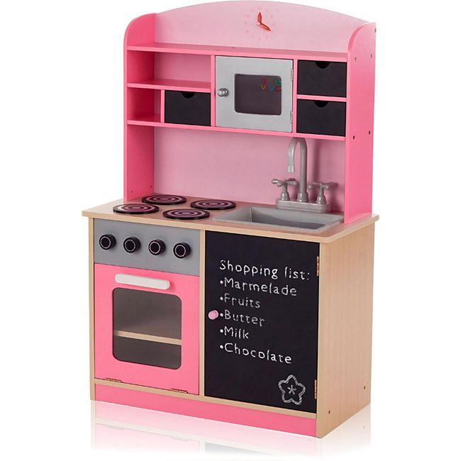Baby Vivo Kinderküche Spielküche aus Holz mit Tafel - Mila in Rosa - Bild 1