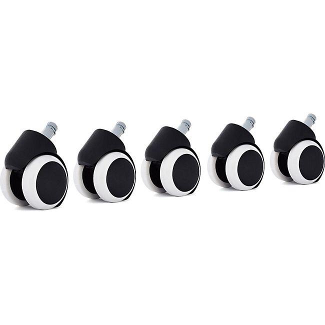 MY SIT Hartbodenrollen Ersatzrollen für Bürostühle - Schwarz/Weiß - Bild 1