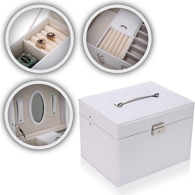 Makika Schmuckaufbewahrung / Schmuckkästchen viereckig mit 3 Schubladen und extra Schmuckbox - in Weiß - Bild 1