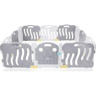 Baby Vivo Laufgitter aus Kunststoff 12 Elemente mit Tür in Grau / Weiß - Milo - Bild 1