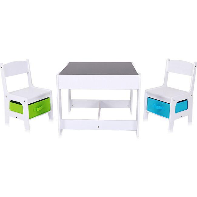 Baby Vivo Kindersitzgruppe mit multifunktionalem Tisch und 2 Stühlen aus Holz - Max - Bild 1