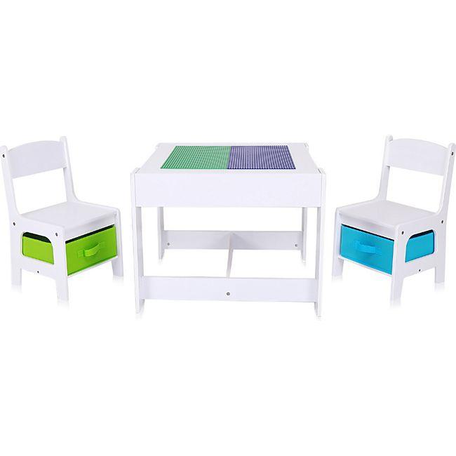 Baby Vivo Kindersitzgruppe mit multifunktionalem Tisch und 2 Stühlen aus Holz - Moritz - Bild 1